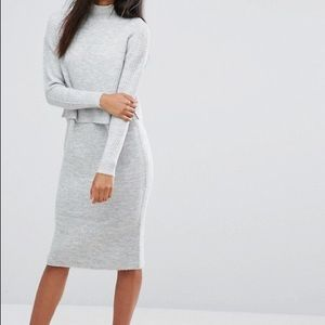 River Island Ribbed Knit 2 in 1 Sweater Dress